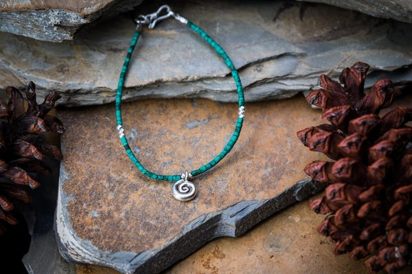Hill Tribe Hand Made Malachite and Silver Bead Bracelets with Swirl Charm