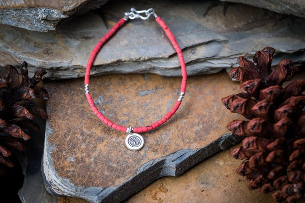 Hill Tribe Hand Made Coral and Silver Bead Bracelets with YinYang Charm