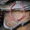 Hill Tribe Hand Made Coral and Silver Bead Bracelets with Flower Charm