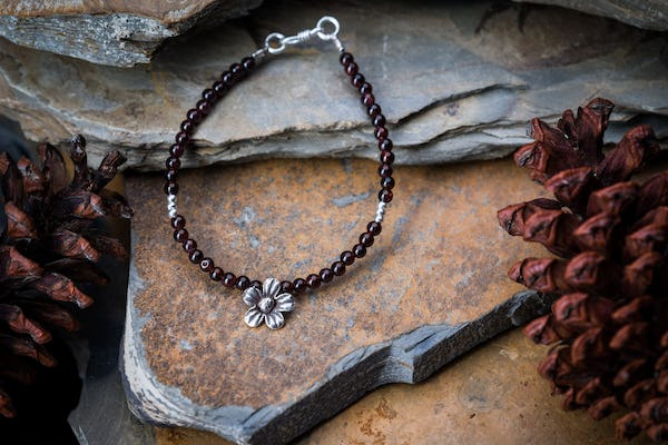 Hill Tribe Hand Made Garnet and Silver Bead Bracelets with Flower Charm