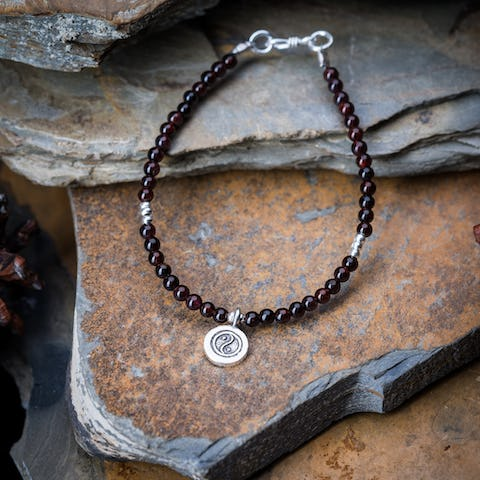 Hill Tribe Hand Made Garnet and Silver Bead Bracelets with YinYang Charm