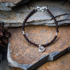 Hand Made Fair Trade Anklet Double Strand Silver Beads Black