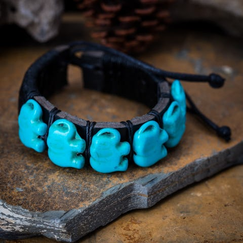 Hand Made Woven Waxed String Leather Adjustable Bracelets With Turquoise Elephant Charm