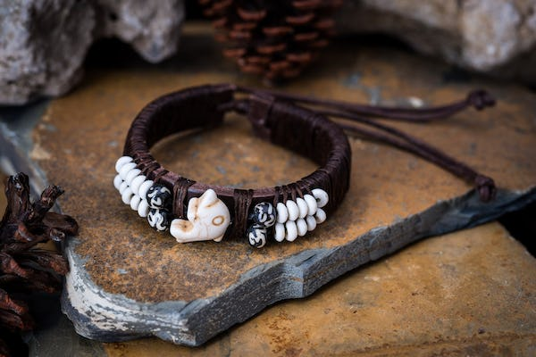 Hand Made Woven Waxed String Leather Adjustable Bracelets With Dolphin Charm and Beads