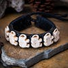 Hand Made Woven Waxed String Leather Adjustable Bracelets With Elephant Charm