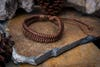Fair Trade Hand Made Woven Leather Bracelet Fishtail Weave Brown
