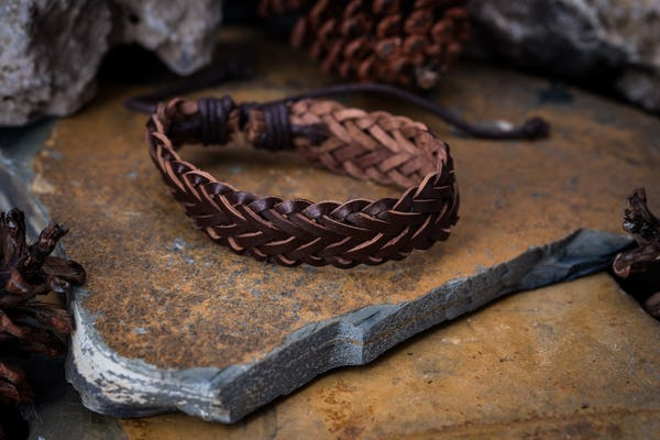 Fair Trade Hand Made Woven Leather Bracelet Braided Brown