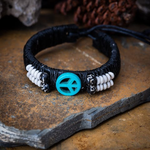 Hand Made Woven Waxed String Leather Adjustable Bracelets With Turquoise Peace Sign Charm and Beads