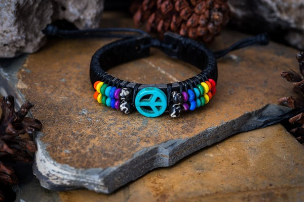 Hand Made Woven Waxed String Leather Adjustable Bracelets With Turquoise Peace Sign Charm and Rainbow Beads