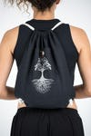 Tree of Life Drawstring Cotton Canvas Backpack in Silver on Black