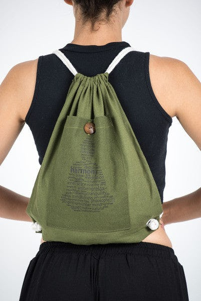 Harmony Drawstring Cotton Canvas Backpack in Olive Green