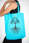 NEW Recycled Cotton Canvas Shopping Tote Bag Tree of Life Blue