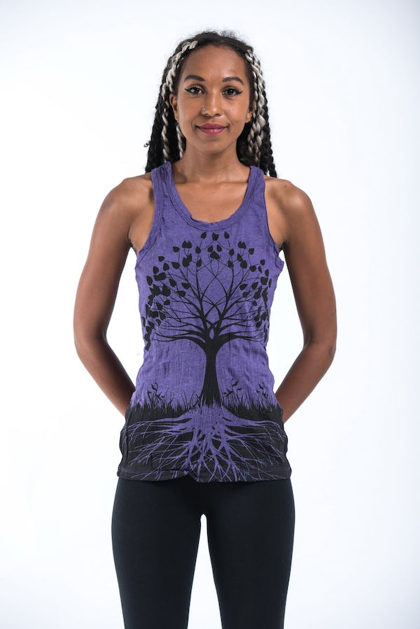 Womens Tree of Life Tank Top in Purple