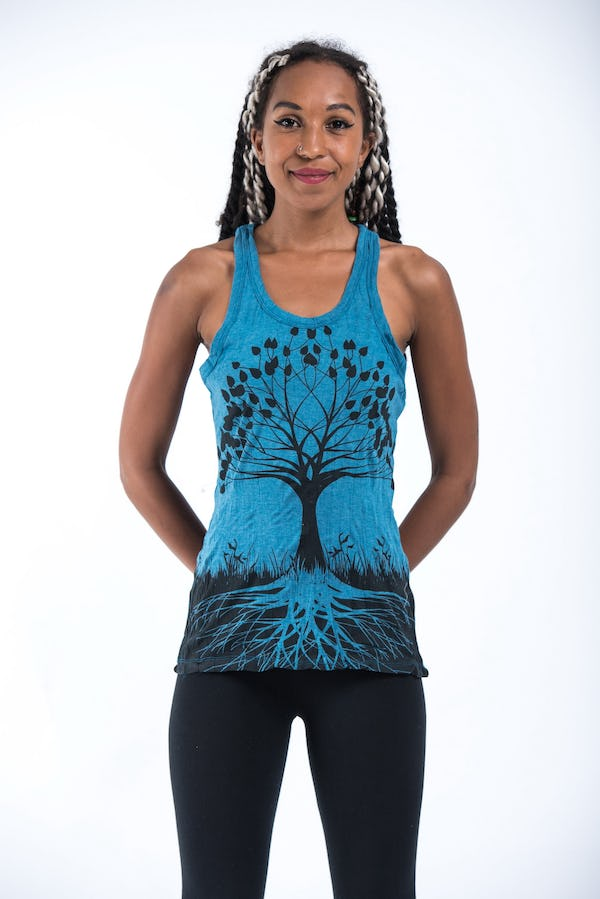Sure Design Womens Tree Of Life Tank Top Denim Blue