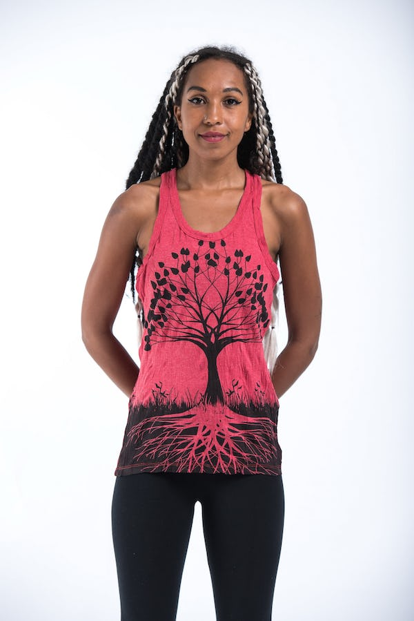 Sure Design Womens Tree Of Life Tank Top Red