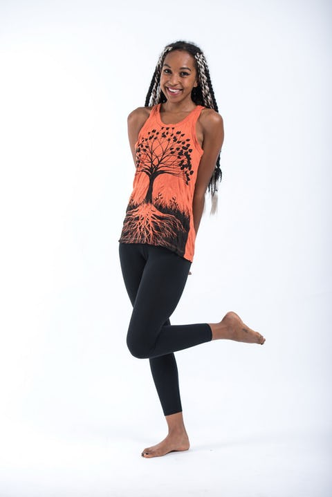 Sure Design Womens Tree Of Life Tank Top Orange