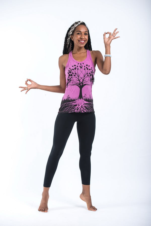Womens Tree of Life Tank Top in Pink