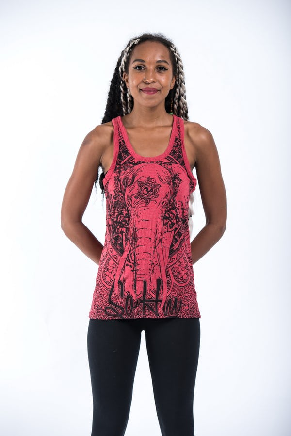 Sure Design Womens Wild Elephant Tank Top Red