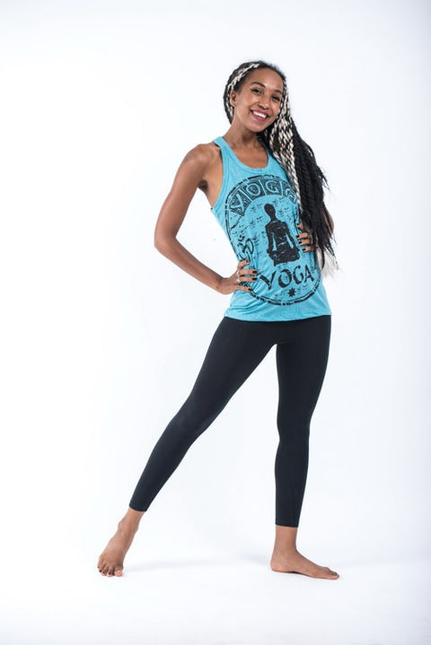 Sure Design Womens Infinitee Yoga Stamp Tank Top Turquoise