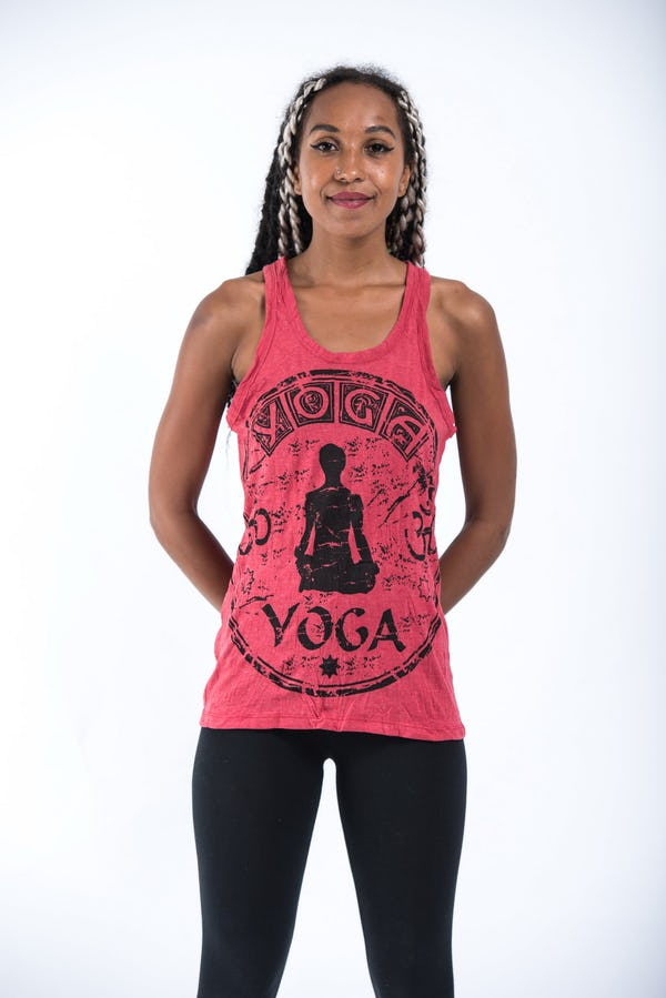 Sure Design Womens Infinitee Yoga Stamp Tank Top Red