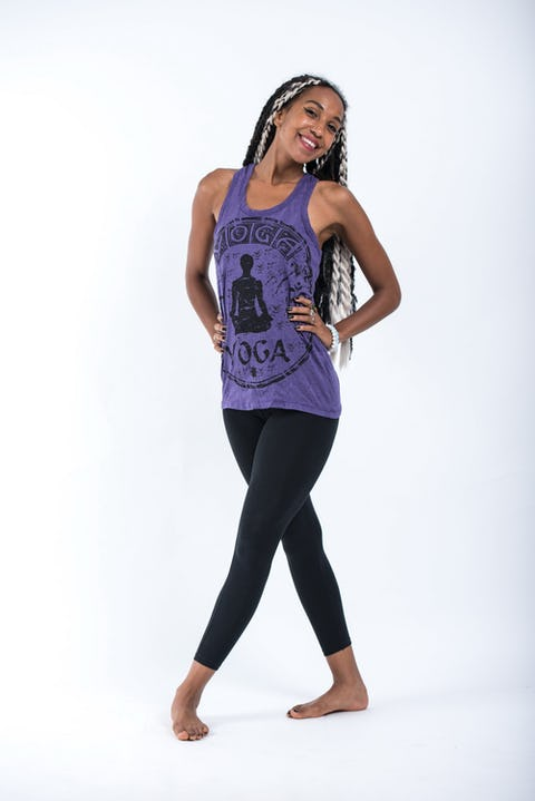 Sure Design Womens Infinitee Yoga Stamp Tank Top Purple