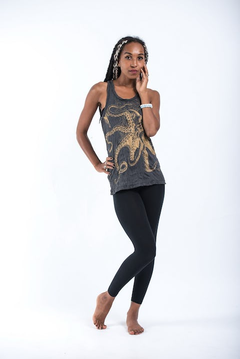 Sure Design Womens Octopus Tank Top Gold on Black