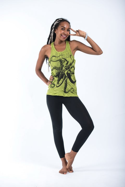 Sure Design Womens Octopus Tank Top Lime
