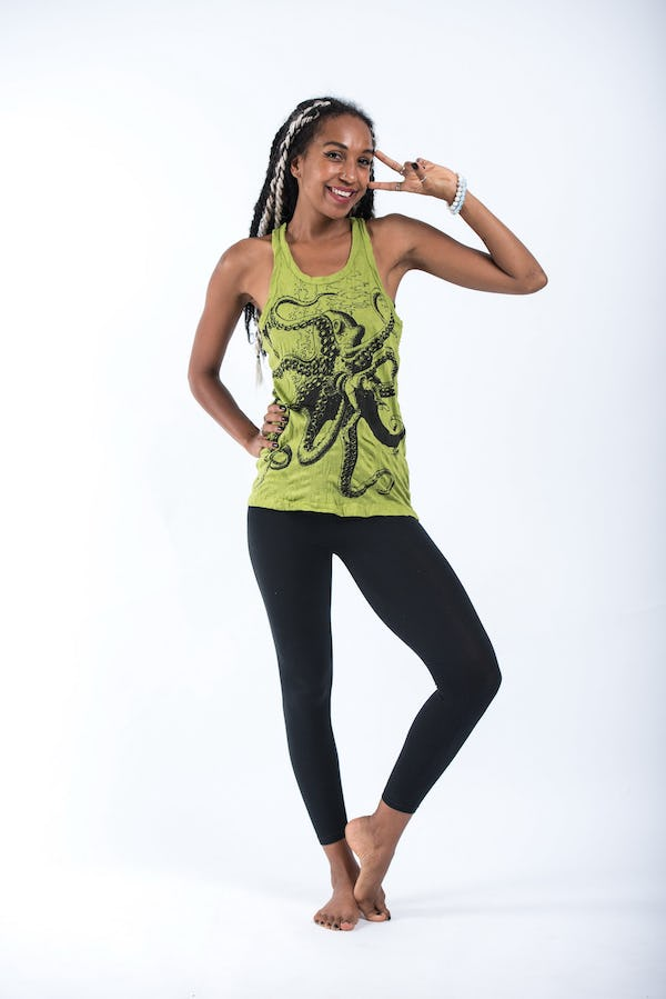 Womens Octopus Tank Top in Lime