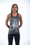 Sure Design Womens Octopus Tank Top Silver on Black