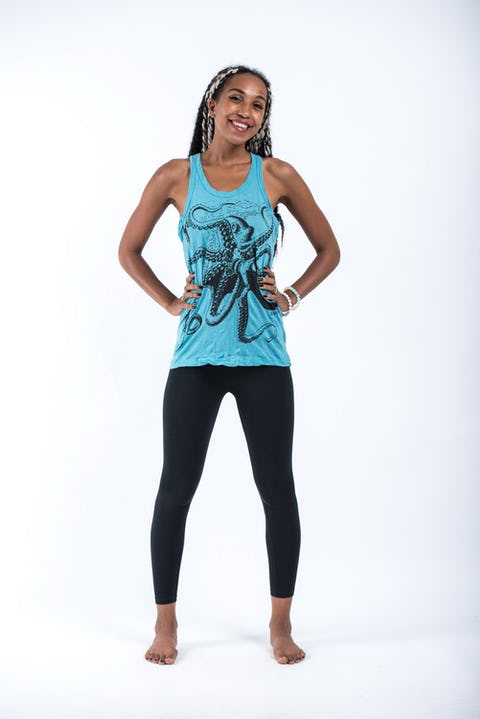 Sure Design Womens Octopus Tank Top Turquoise