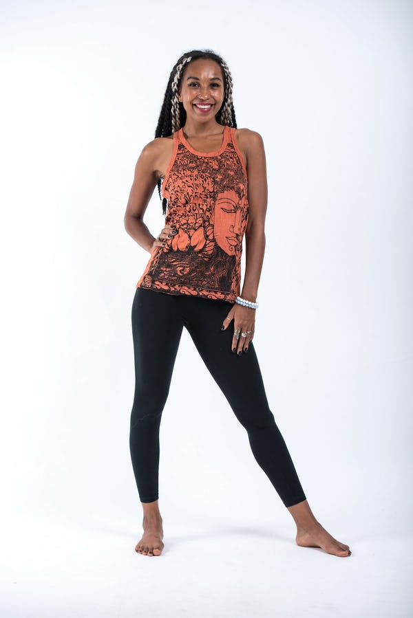 Sure Design Womens Sanskrit Buddha Tank Top Orange