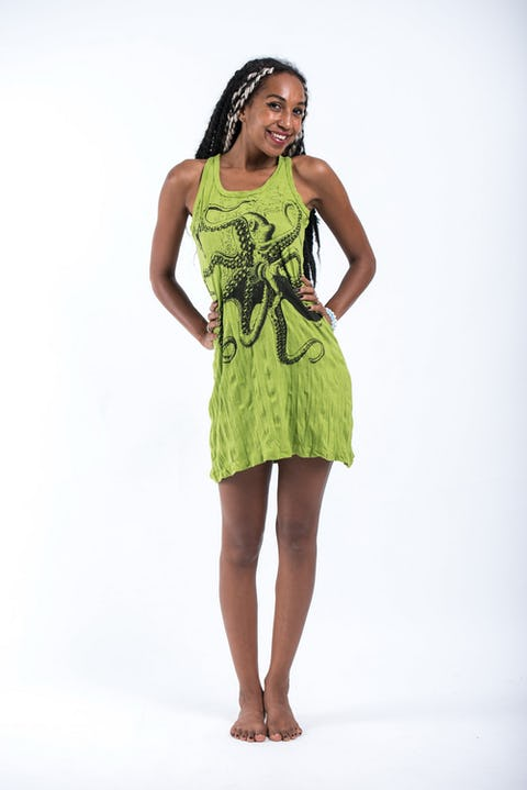 Sure Design Womens Octopus Tank Dress Lime
