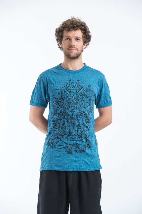 Sure Design Mens Chaos Man Tshirt Denim Blue