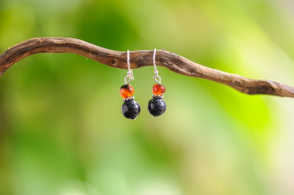 Hand Made Tribal Earrings Carnelian & Silver Sand Stones With Silver Beads