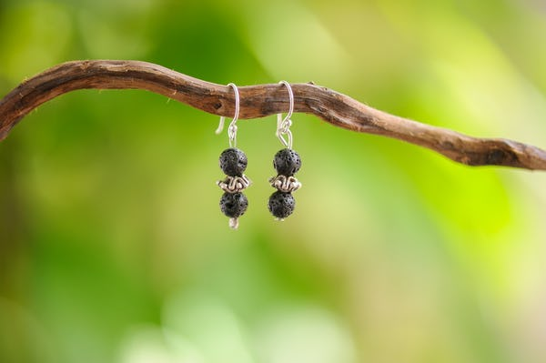 Hand Made Tribal Earrings Black Lava With Silver Beads