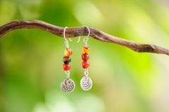 Hand Made Tribal Earrings Garnet & Jasper With Silver Beads