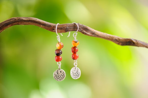 Hand Made Tribal Earrings Beads Carnelian With Silver Fish