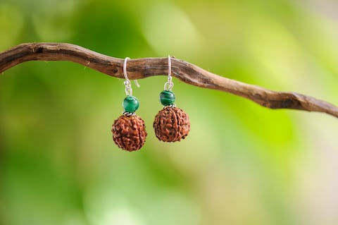 Hand Made Tribal Earrings Malachite & Rudarksha Beads With Silver Beads