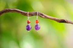 Sterling Silver Thai Heart-shaped Amethyst Dangling Earrings
