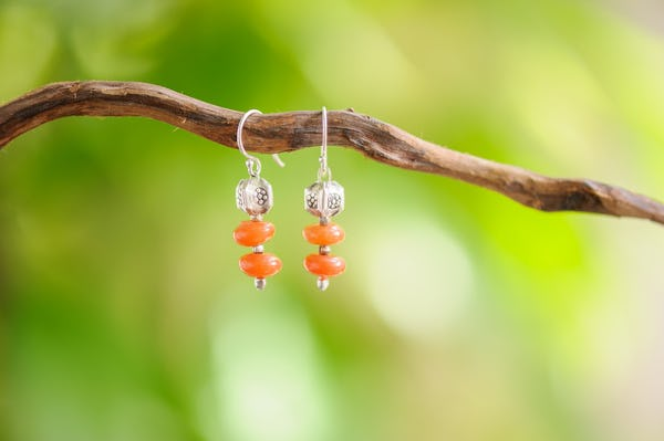 Hand Made Tribal Earrings Beads Carnelian With Silver Charm