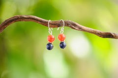 Blue Goldstone And Carnelian Stones Earrings