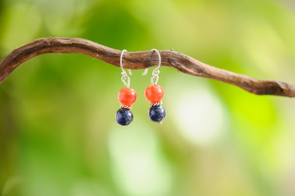 Carnelian And Lapis Lazuli Stones Earrings