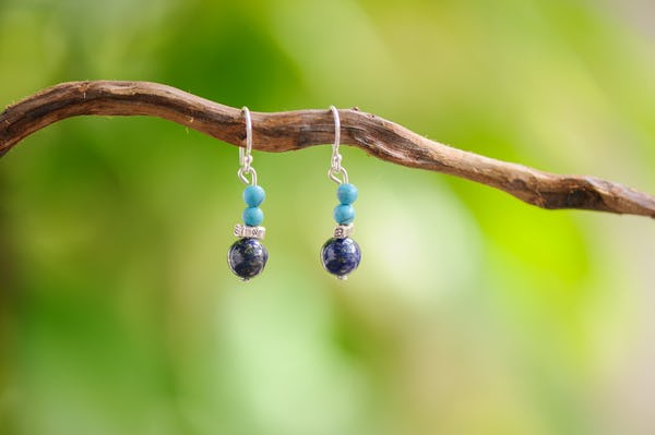 Hand Made Tribal Earrings Beads With Turquoise and Lapis Lazuli