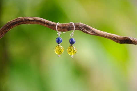 Hand Made Tribal Earrings With Lapis Lazuli and Peridot Stones