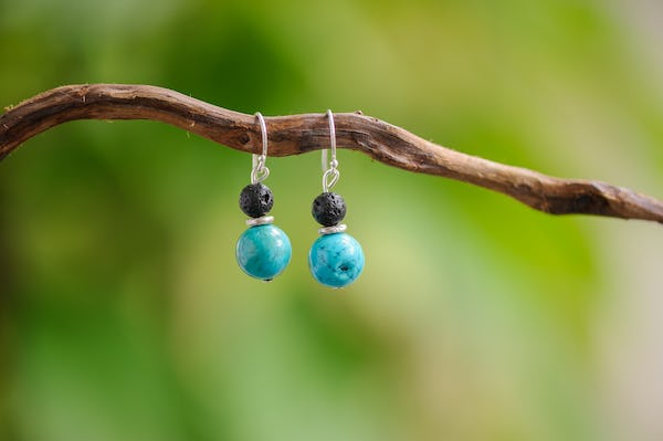 Hand Made Tribal Earrings Black Lava & Turquoise With Silver Beads