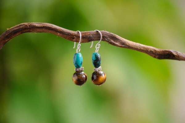 Hand Made Tribal Earrings Beads With Turquoise and Tiger Eye Stones