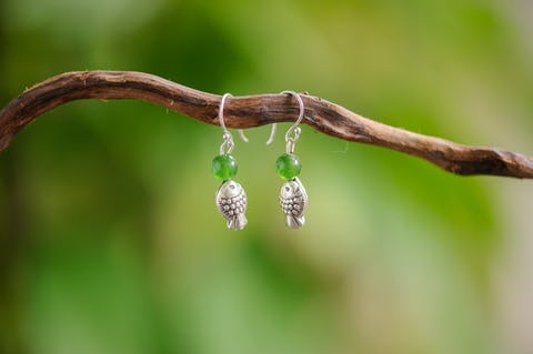 Hand Made Tribal Earrings Fish Silver With Jade