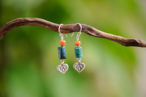 Hand Made Tribal Earrings Heart Charms With Turquoise and Coral