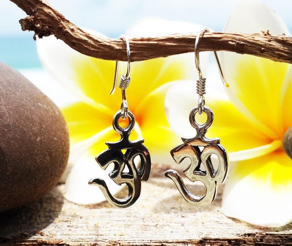 Sterling Silver Thai  Earrings Sanskrit Om