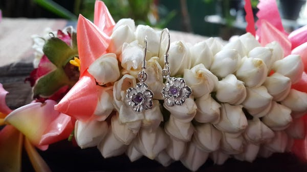Sterling Silver Earrings Flower Violet
